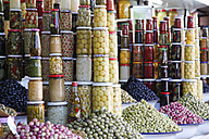 Morocco, Marrakesh, pickled vegetables on souk - RIM000300