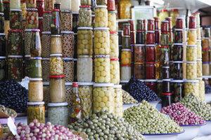 Morocco, Marrakesh, pickled vegetables on souk - RIM000300