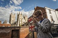 UK, Canterbury, boy taking a selfie with his digital tablet - PAF000966