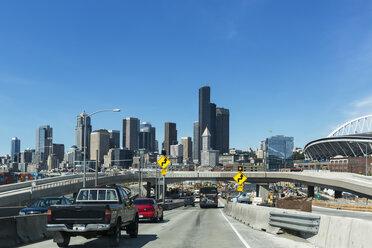 USA, Washington State, Seattle, Interstate 5 and skyline - FOF007179
