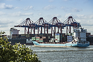 Germany, Hamburg, Port of Hamburg, container cranes and container ship - KB000177