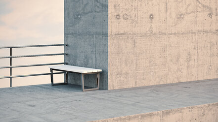 Bench at observation point, 3D Rendering - UWF000187