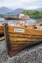 United Kingdom, England, Cumbria, Lake District, Derwentwater, rowing boat on the waterfront - ELF001297
