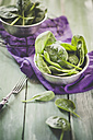 Bowl of fresh spinach leaves on cloth and wood - SBDF001268