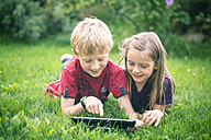 Brother and sister lying on a meadow using digital tablet - SARF000866