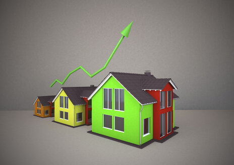 3D rendering of coloured homes with chart - ALF000219