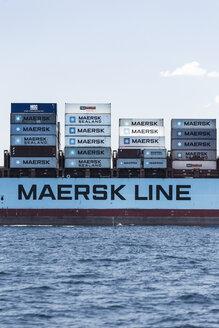 Spain, Andalusia, Tarifa, cargo ship on the ocean - KB000184