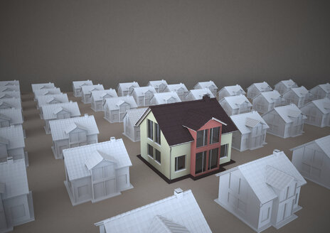 3D rendering, Family homes standing out of rows - ALF000221