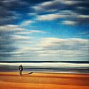 France, Contis-Plage, man at the beach - DWI000236