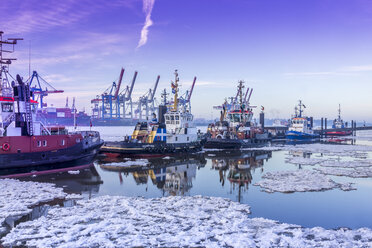 Germany, Hamburg, tugboats on icy Elbe river during sunrise - NK000206