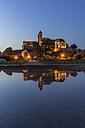 Germany, Saxony-Anhalt, Quedlinburg, Quedlinburg Abbey in the evening - PVCF000113