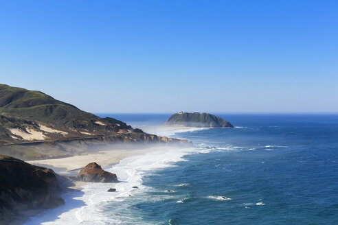 USA, California, Pacific Coast, National Scenic Byway, Big Sur, Point Sur State Historic Park, View to Point Sur Lighthouse - FOF007262