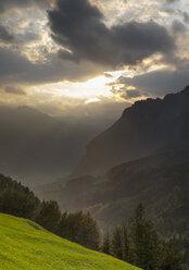 Switzerland, Canton Schwyz, Muota Valley, Sunset - HLF000738