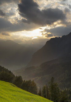 Switzerland, Canton Schwyz, Muota Valley, Sunset - HLF000738