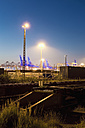 Germany, Hamburg, railway yard, freight train, sidetrack in the evening light - MSF004285