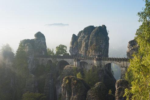 Germany, Saxony, Saxon Switzerland, National Park, Bastei Bridge - MJF001367