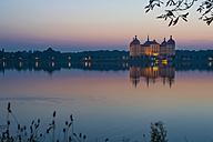 Germany, Saxony, Dresden, Moritzburg, View to Moritzburg Castle in the evening light - MJ001366