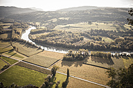 France, Savoy, Jongieux, Rhone Valley and Rhone river in late summer - SBDF001317