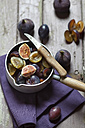 Casserolle of sliced figs and plums for making jam - SBDF001297