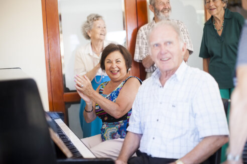 Senior people making music in a retirement village - ZEF001322