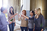 Group of people clinking wine glasses on shop floor - ZEF001457