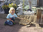 Little boy petting turtle - MJF001475
