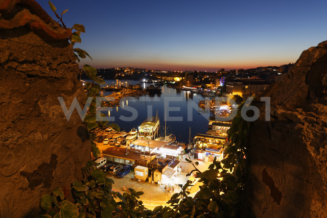 Turkey, Black Sea Region, Sinop Province, Sinop, View from Fortress to Fishing Harbour in the evening light - SIEF006091