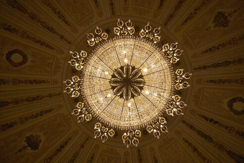 Germany, Hesse, Wiesbaden, view to lightened chandelier at city palace from below - BSC000446