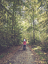 Father and daughter in beech forest - LVF002033