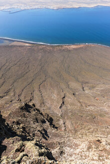 Spain, Canary Islands, Lanzarote, view on coast with lava flows from Mirador del Rio - AMF002993