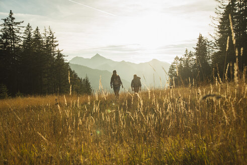 Austria, Tyrol, Tannheimer Tal, young couple hiking in sunlight on alpine meadow - UUF002144