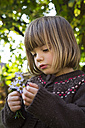 Portrait of little girl with bunch of wild chrysanthemum - LVF002059