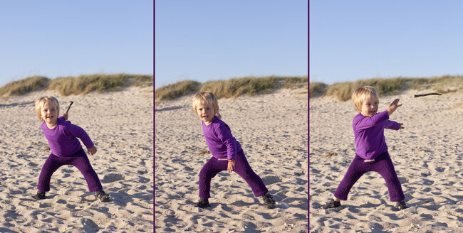 Little girl playing on the beach with little stick, multiple image - JFEF000473