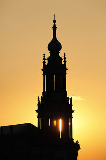 Germany, Saxony, Dresden, silhouette of court church at sunset - JTF000587