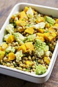 Bowl of lentil salad with pumpkin and romanesco - HAWF000486