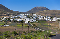 Spain, Canary Islands, Lanzarote, Village Maguez and Volcano Monte Corona - AMF002997