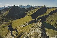 Austria, Tyrol, Tannheimer Tal, mature man hiking - UUF002311