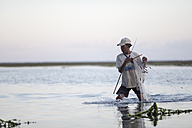Indonesia, Bali, fisherman working in the sea - NNF000053