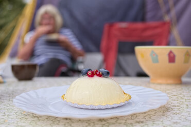 France, Bretagne, Finistere, Tarte doucer with red berries - LAF001146