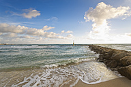 Spain, Baleares, Mallorca, waves reaching breakwater at the seafront - MSF004324