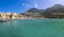 Italy, Sicily, Province of Trapani, Fishing village Castellammare del Golfo, Harbour, Panorama - AMF003036