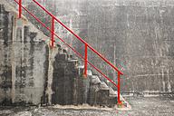 Portugal, Algarve, Sagres, Stairway and red railing - KBF000197