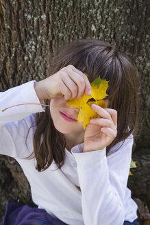 Portrait of girl peeking through hole in an autumn leaf - LVF002147