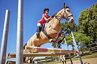 Girl on horse crossing obstacle on course - ZEF001737
