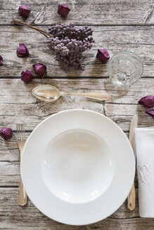 Soup dish on autumnal laid table - LVF002089