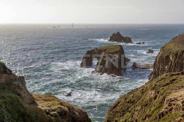 United Kingdom, England, Cornwall, Land's End, Natural Arche and Armed Knight - FRF000056