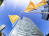 Germany, Hesse, Frankfurt, City-Haus, Flags of DZ Bank - AM003108