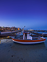Italy, Sicily, Province of Palermo, Mondello, Harbour, Fishing boat in the evening - AMF003116