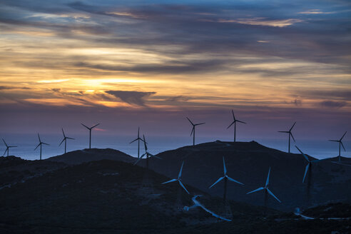 Spain, Andalusia, Tarifa, Wind farm in the evening light - KBF000239