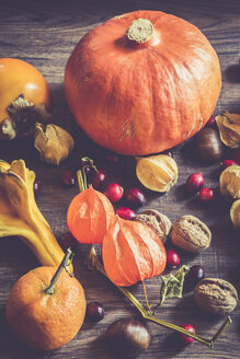 Autumnal fruits and vegetables on dark wood - SARF000981